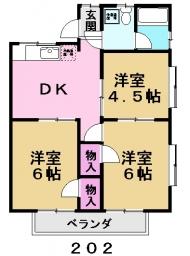 ハイツ中村202号室間取り図